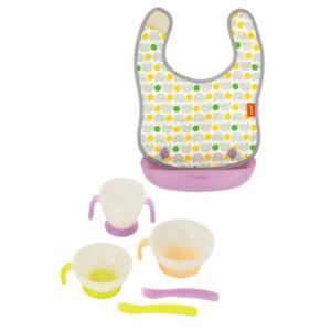 お食事エプロン ベビーレーベル 油が落ちるエプロンと自分で食べる食器 combi babylabel エプロン こども 子供用  室内 日用品 お食事 コンビ|pinkybabys