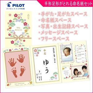 赤ちゃん手形 足形セット おたんじょうきろく 手を汚さずに手形足形がとれる命名紙セット パイロットインキ 出産記念 赤ちゃん お誕生 ベビー ゆうパケット|pinkybabys