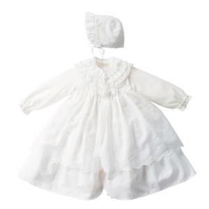 妖精の森 ロマンティックレースセレモニーセット YC036-1 純白 華やか ボンネット ドレス ベ...