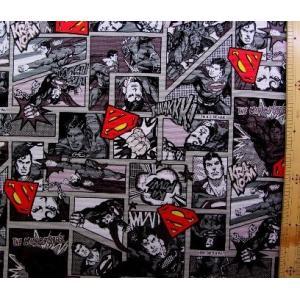 キャラクター 生地 アメリカン コミックヒーロー ( スーパーマン モノトーン )  柄番号5 手芸...