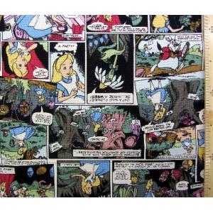 布 キャラクター ハンプ 生地 不思議の国の アリス(生成/カラフル)柄番号7 ディズニー 8号ハン...