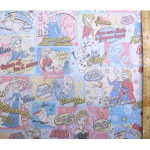 キャラクター 生地 布  アナと雪の女王(ブルー)柄番号16 ディズニー 手芸 生地 綿 ( プリン...