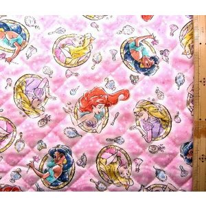 Q キャラクター キルティング 生地 ・ ディズニープリンセス (コスメティックス柄・ピンク) 柄番...