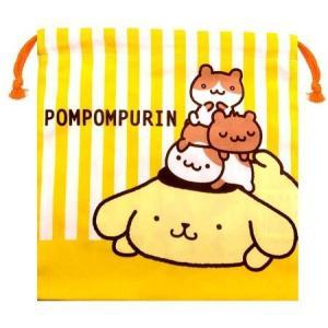◇ キャラクター 巾着袋 ( きんちゃく袋 ) ポムポムプリン ( ストライプ オフ 黄 ) ( サイズ 約20×20cm ) ( 綿 100% ) pirol