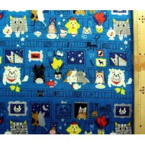 プリント 生地 動物 レストラン ( グリーンブルー )kok-loa-46000-1c-nk-19...