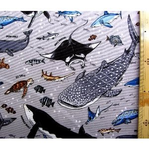 プリント 生地 海の王者たち ( グレー )kok-loa-49030-1-c-nk-2059