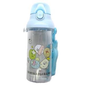 ◇ キャラクター 水筒 すみっコぐらし ( おべんきょう クリア ブルー ) 480ml ( ワンタッチオープン 直飲みタイプ ) pirol