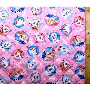 Q キャラクター キルティング 生地 アナと雪の女王 ( ピンク )柄番号7 キルト 生地幅−約10...