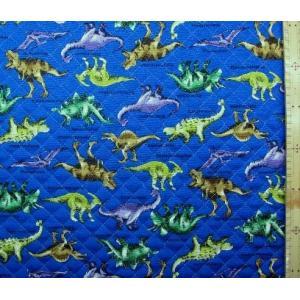 キルティング 生地   恐竜の世界(青) キルト 生地幅−約106cm 表地−オックス    q-K...