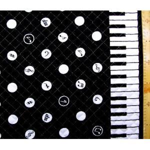 キルティング 生地   ピアノ 水玉 鍵盤柄(黒) キルト 生地幅−約106cm 表地−オックス  ...