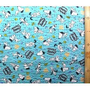リップル 生地 スヌーピー(ブルーグリーン)(布 浴衣 ゆかた 甚平 じんべえ) R-3569-1B-1804