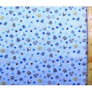 リップル生地 ( サッカー生地 )  新幹線 (しんかんせん )( ブルー ) リップル(綿100%) 生地幅−約108cm リップル生地は2mのみメール便可能です。|pirol