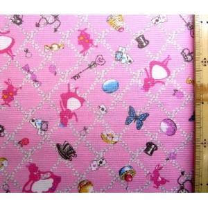 プリント 生地 アリス の花飾り ( ピンク )swa-985-a-nk-2023