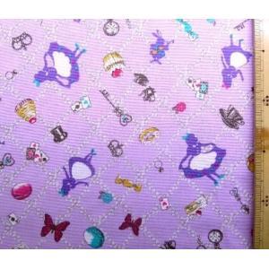プリント 生地 アリス の花飾り ( パープル )swa-985-c-nk-2025