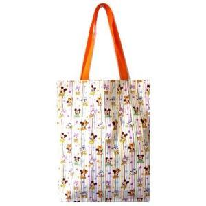 ◇ キャラクター トートバック ( トート 中サイズ )  ( マチ付コットンバッグ )  ミッキーマウス ( ベビー ディズニー  白/オレンジ ) pirol