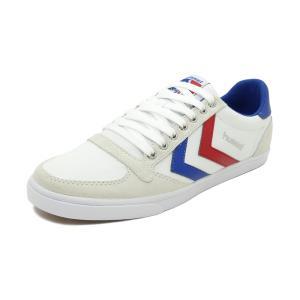 スニーカー ヒュンメル HUMMEL スリマースタディールキャンバスロー ホワイト/レッド/ブルー レディース シューズ 靴 19SS|pistacchio