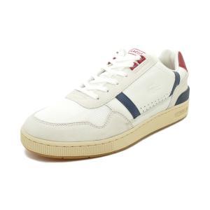 スニーカー ラコステ LACOSTE T-CLIP 120 2 US オフ ホワイト/ネイビー/レッド SMA0057-8R1 メンズ シューズ 靴 20Q1|pistacchio