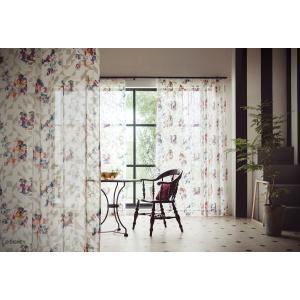 不思議の国のアリス ALICE in WONDERLAND レースカーテン(1枚)Digital flower(100×176)ディズニー 国産 日本製 送料無料|plaisier