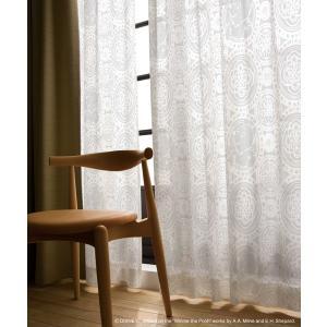 くまのプーさん Winnie the Pooh レースカーテン(1枚)Peep in lace(100×198)ディズニー 北欧インテリア 国産 日本製
