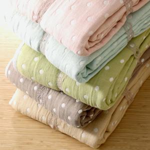 綿100% 水玉ドット柄 風通織 リバーシブル5重ガーゼケット シングル5色 新疆綿 北欧 かわいい さらさら ふんわり|plaisier