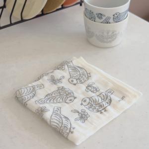 奈良の蚊帳生地で作った5枚合わせふきん 選べる8柄 デザイナーコラボ 中村メグミ 日本製国産 和布華 内祝お返し 北欧キッチン雑貨 かわいい ギフトプレゼント|plaisier