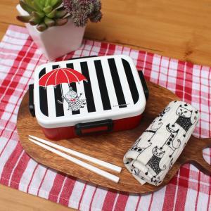リトルミイ モノクロ 4点ロックランチボックス ムーミン Moomin 入学入園準備 北欧 雑貨 おしゃれ かわいい シンプル ナチュラル お弁当箱 日本製|plaisier