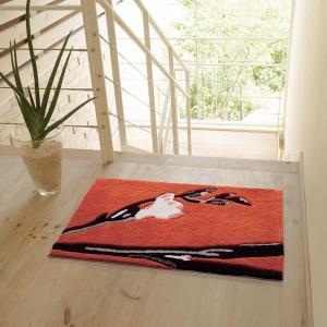 インテリアマット(MERI メリ 50×80cm)北欧ミニラグ 玄関 フラワーアート 幾何柄 ラグ カーペット おしゃれ かわいい ナチュラルモダン|plaisier