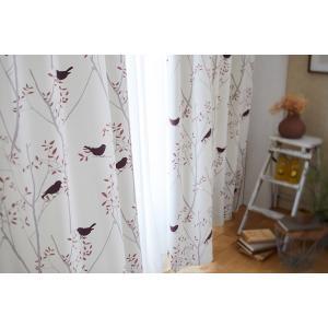DESIGN LIFE 北欧デザイン遮光カーテン(1枚)MIKI NI KOTORI ミキニコトリ(100×178)ウォッシャブル 形状記憶加工 日本製 送料無料|plaisier