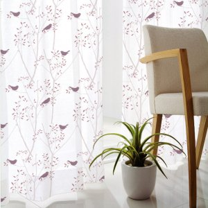 DESIGN LIFE 北欧デザイン レースカーテン(1枚)MIKI NI KOTORI ミキニコトリ(100×133)ウォッシャブル 見えにくい 日本製 送料無料|plaisier