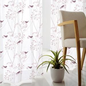 DESIGN LIFE 北欧デザイン レースカーテン(1枚)MIKI NI KOTORI ミキニコトリ(100×176)ウォッシャブル 見えにくい 日本製 送料無料|plaisier