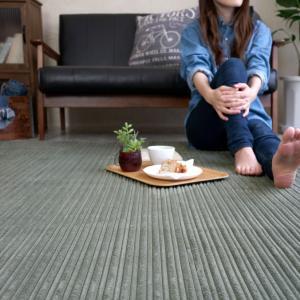 なめらかフランネル リップルラグ(130×185)北欧カーペット おしゃれ ナチュラル 床暖房ホットカーペット対応|plaisier