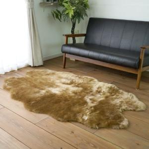 ふわふわフェイクムートンファー ラグ(4匹 100×170)ミンク フォックスタッチ 北欧カーペット おしゃれ なめらか 床暖房ホットカーペット対応 送料無料|plaisier