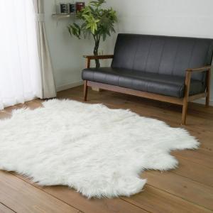 ふわふわフェイクムートンファー ラグ(6匹 140×170)ミンク フォックスタッチ 北欧カーペット おしゃれ なめらか 床暖房ホットカーペット対応 送料無料|plaisier