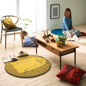 鈴木マサル コラボマット(サルモン 90×90cm)チェアパッド 北欧 ミニラグ 日本製 雑貨 おしゃれ かわいい 国産 ムーミン 送料無料|plaisier