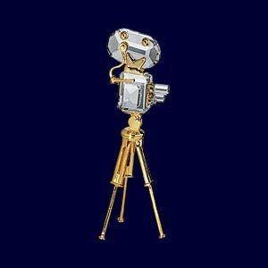 スワロフスキー Swarovski 2003年 廃盤品 『ムービーカメラ, ゴールドコーティング』 219196