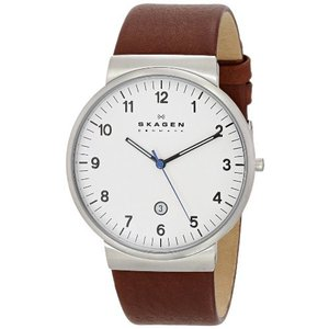 当店1年保証 スカーゲンSkagen Men's Ancher Quartz Stainless Steel and Leather Watch Color: Silver, Brown (Model: SKW608|planetdream