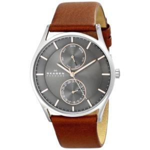 当店1年保証 スカーゲンSkagen Men's Holst Quartz Stainless Steel and Leather Casual Watch, Color: Silver-Tone, Brown (M|planetdream