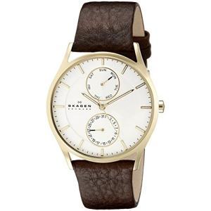 当店1年保証 スカーゲンSkagen Men's Holst Quartz Stainless Steel and Leather Casual Watch, Color: Gold-Tone, Brown (Mod|planetdream
