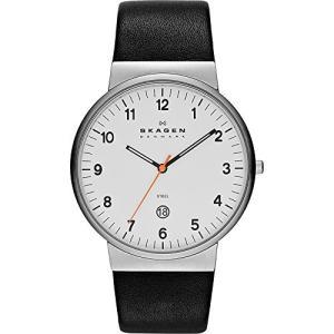 当店1年保証 スカーゲンKlassik Three-Hand Date Leather Watch - Black,Unisex adult|planetdream