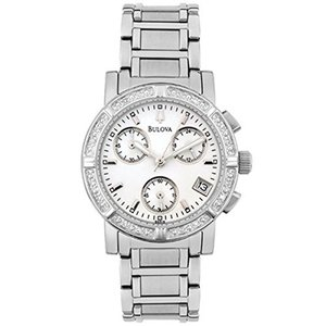 当店1年保証 ブローバBulova Women's 96R19 Diamond-Studded Chronograph Watch|planetdream