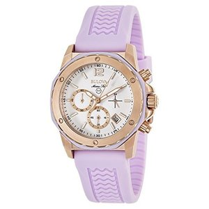 当店1年保証 ブローバBulova Women's 98M118 Gold-Tone Stainless Steel Watch with Purple Rubber Band|planetdream