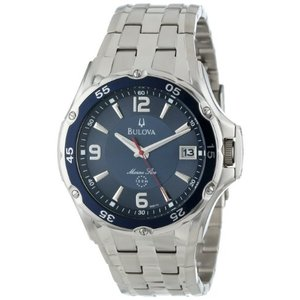 当店1年保証 ブローバBulova Men's 98B111 Marine Star Stainless Steel Bracelet Blue Dial Watch|planetdream