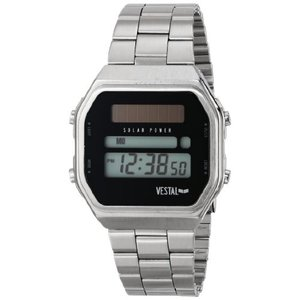 当店1年保証 ベスタルVestal Men's SYNDM02 Syncratic Solar Power Digital Display Japanese Quartz Silver Watch|planetdream