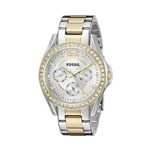 当店1年保証 フォッシルFossil Women's Riley Quartz Two-Tone Stainless Steel Chronograph Watch, Color: Silver, Gold (Mod|planetdream