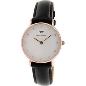 当店1年保証 ダニエルウェリントンDaniel Wellington Women's 0901DW Sheffield Analog Quartz Black Leather Watch|planetdream