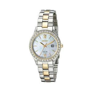 セイコー レディース腕時計 SUT074 シルバー&ゴールド スワロフスキー・クリスタル ソーラーウォッチ 海外モデル|planetdream