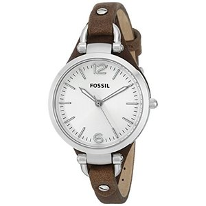 当店1年保証 フォッシルFossil Women's Georgia Quartz Leather Casual Watch, Color: Silver, Brown, 8 (Model: ES3060)|planetdream