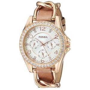 当店1年保証 フォッシルFossil Women Riley Quartz Stainless Steel and Leather Multifunction Watch, Color: Rose Gold, Tan|planetdream
