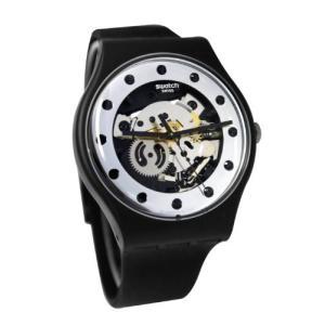 当店1年保証 スウォッチSwatch Unisex SUOZ147 Silver Glam Analog Display Quartz Black Watch|planetdream