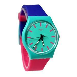 当店1年保証 スウォッチSwatch Shunbukin Teal Dial Plastic Silicone Quartz Ladies Watch GG215|planetdream
